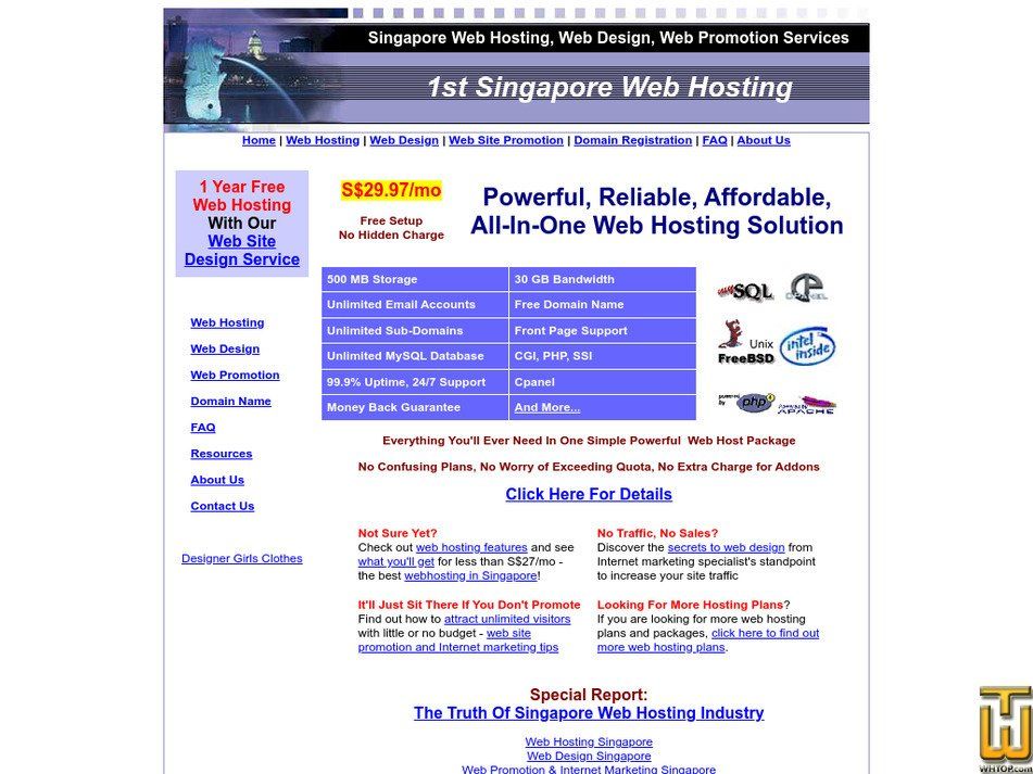 1stsingaporewebhosting.com Screenshot