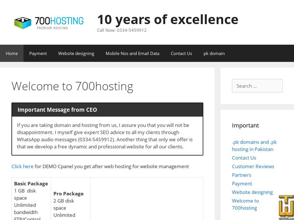 700hosting.com Screenshot
