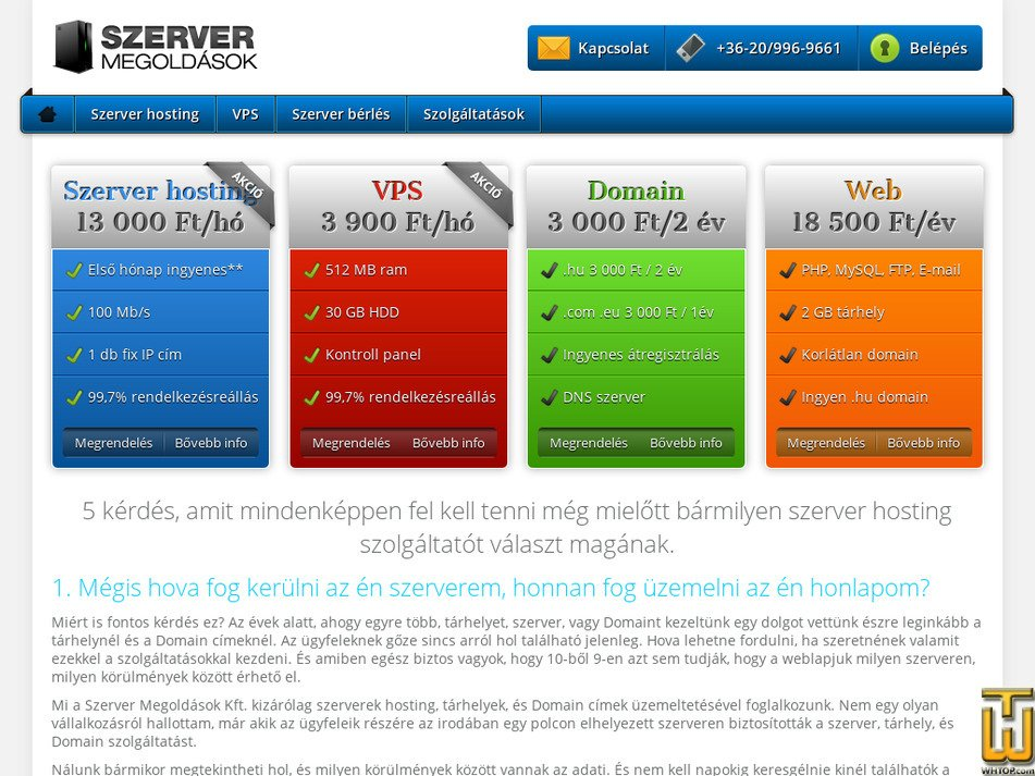 ahosting.hu Screenshot