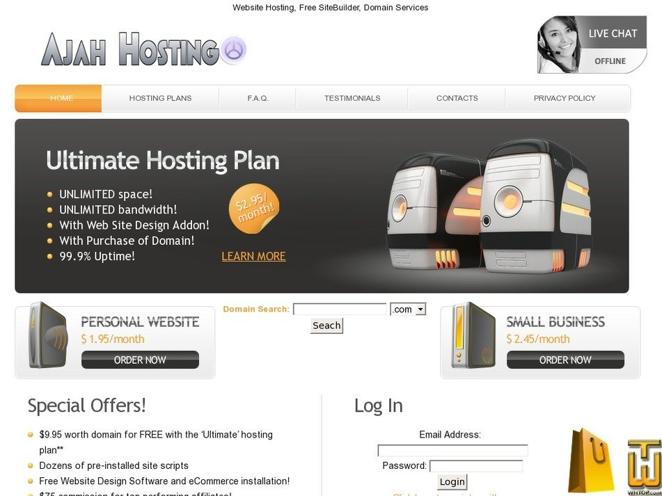 ajahhosting.com Screenshot