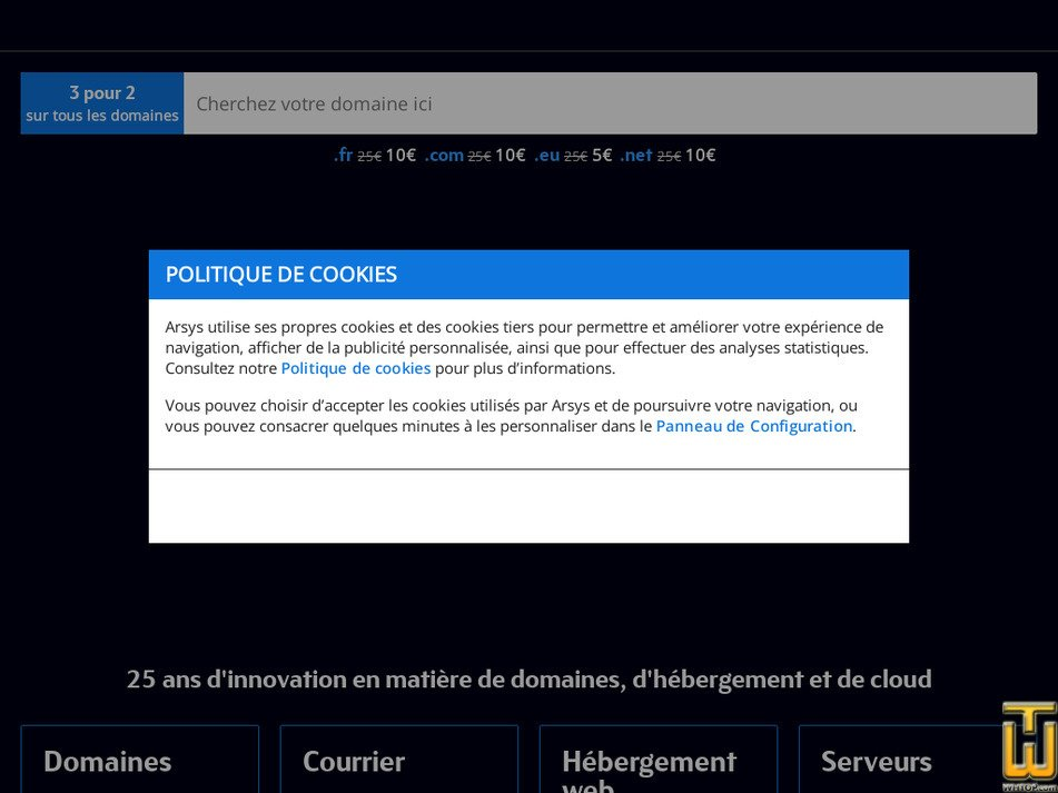 arsys.fr Screenshot