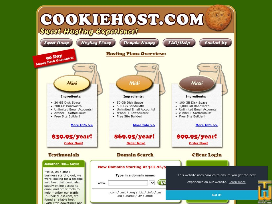 cookiehost.com Screenshot