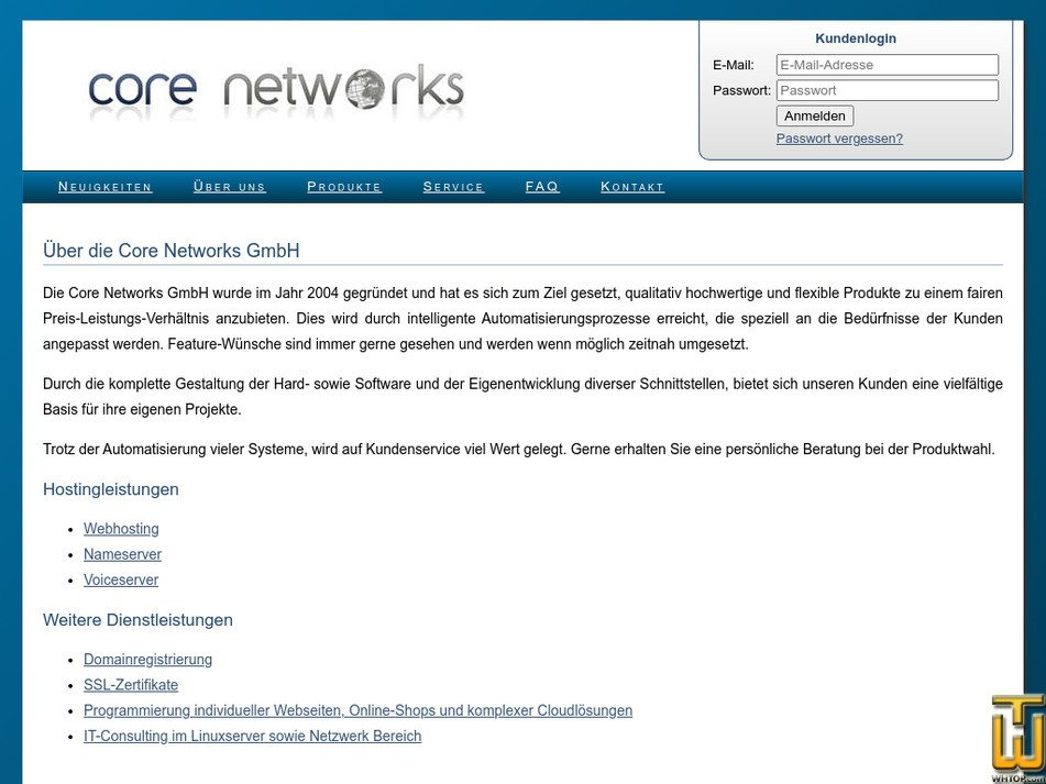 core-networks.de Screenshot