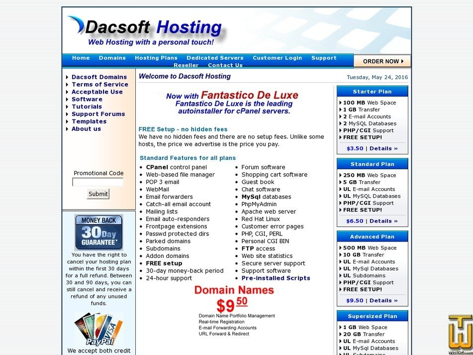 dacsofthosting.com Screenshot