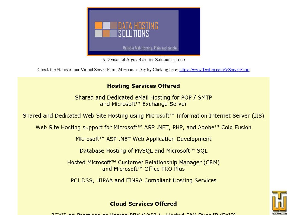 datahostingsolutions.com Screenshot