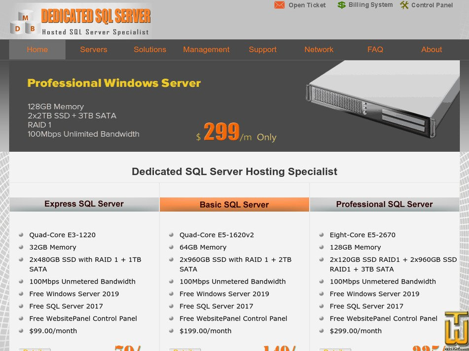 dedicatedsqlserver.com Screenshot