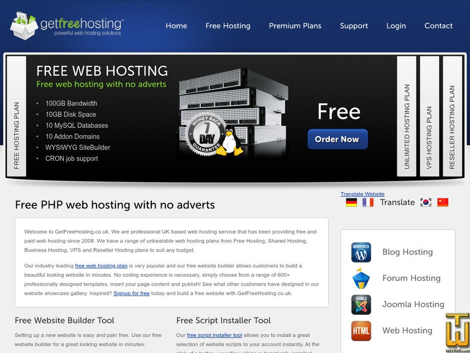 getfreehosting.co.uk Screenshot
