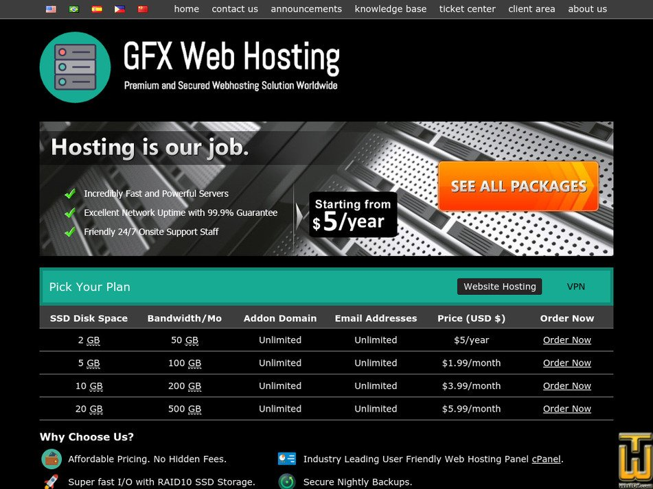 gfxwebhosting.com Screenshot