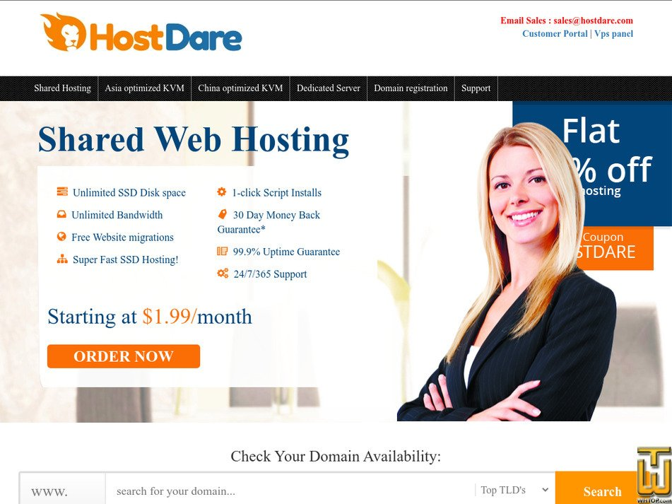 hostdare.com Screenshot