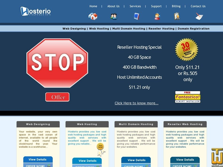 hosterio.com Screenshot