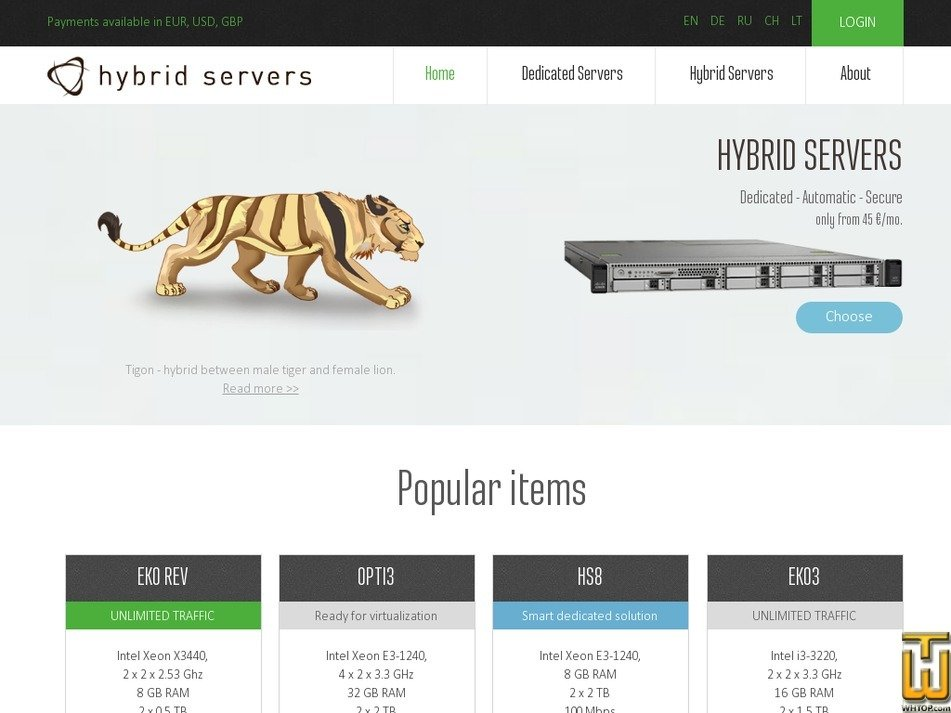 hybridservers.com Screenshot