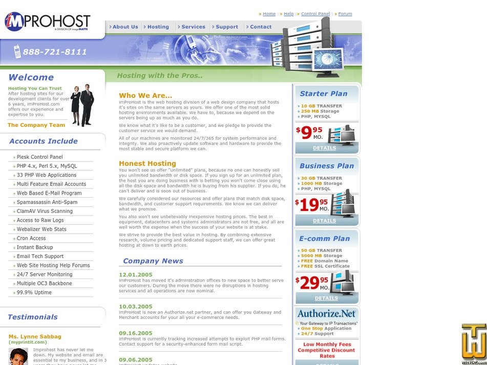 improhost.com Screenshot