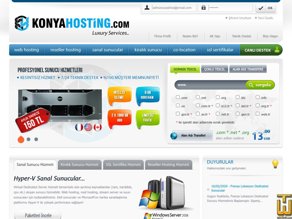 konyahosting.com Screenshot