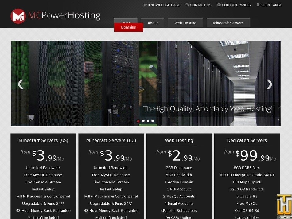 mcpowerhosting.com Screenshot