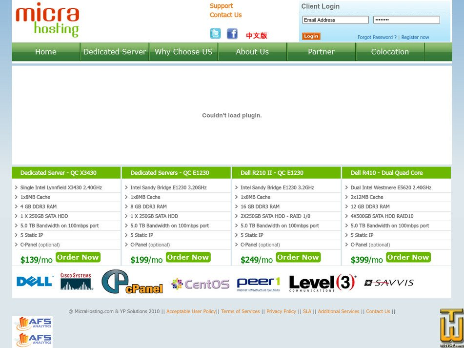 micrahosting.com Screenshot