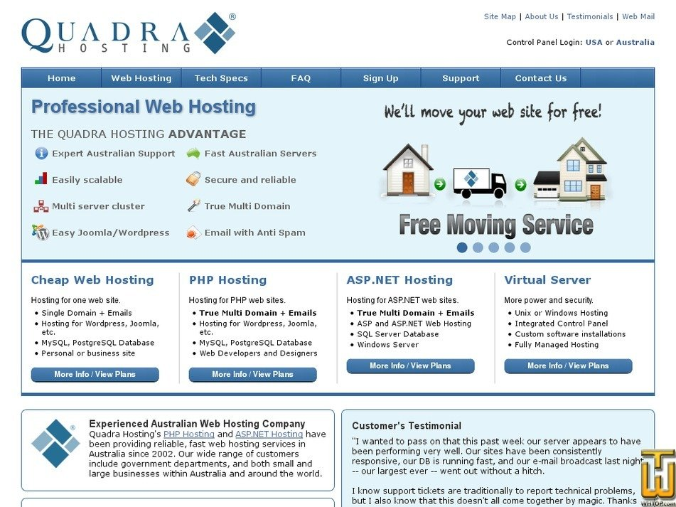 quadrahosting.com.au Screenshot
