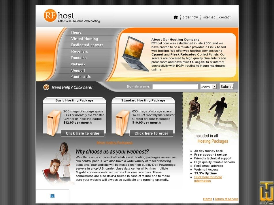 rfhost.com Screenshot