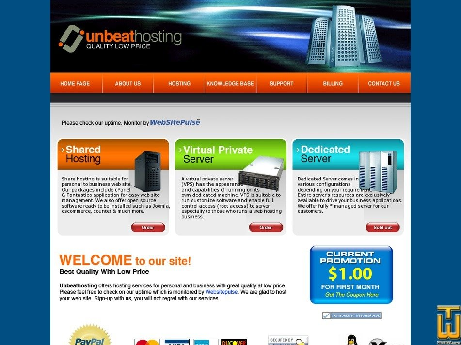 unbeathosting.com Screenshot