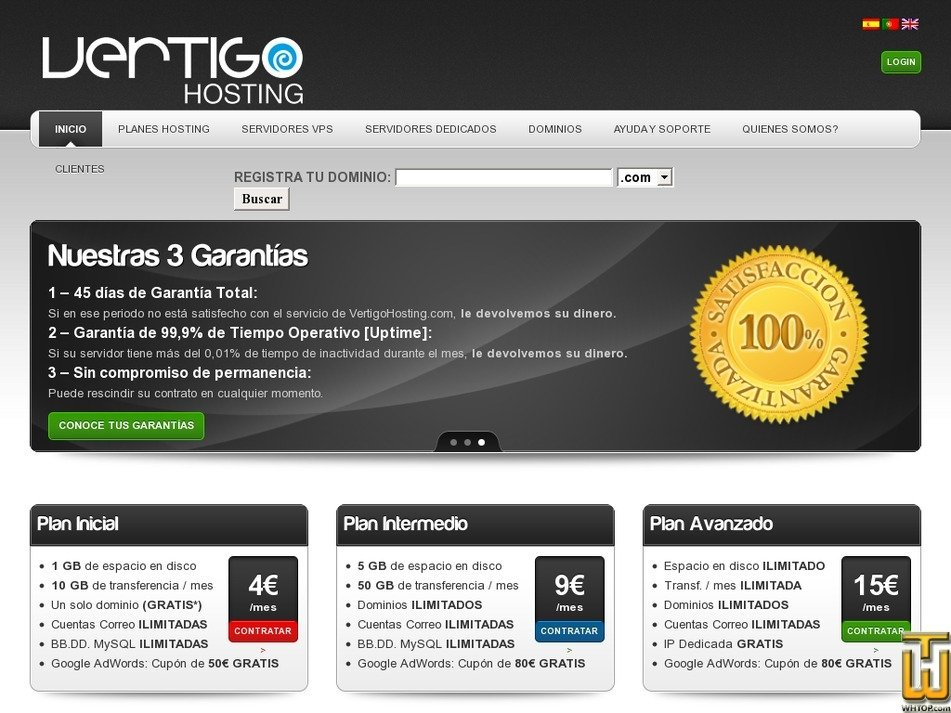 vertigohosting.com Screenshot