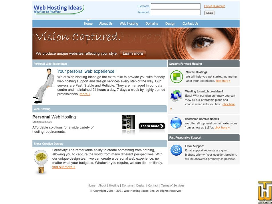 webhostingideas.net Screenshot