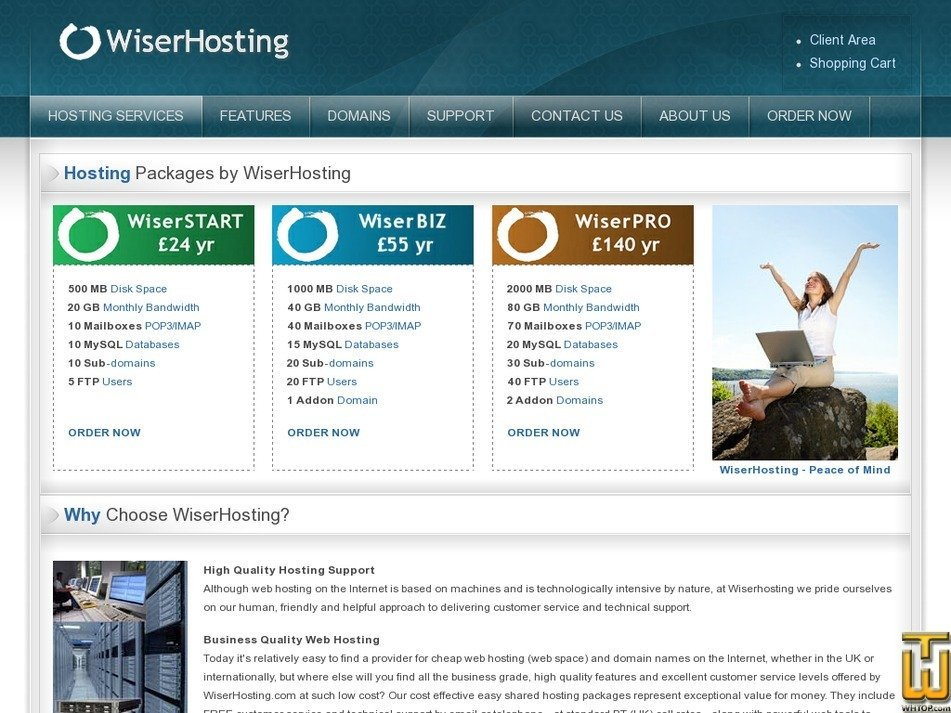 wiserhosting.com Screenshot