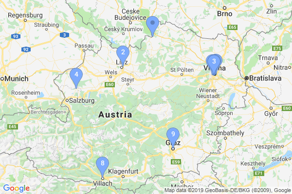 Top Providers - Location Map for Austria