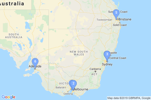 Top Providers - Location Map for Australia