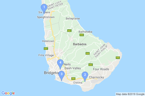 Top Providers - Location Map for Barbados