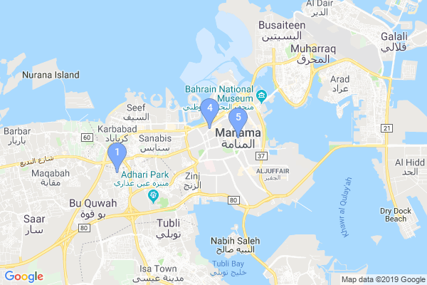 Top Providers - Location Map for Bahrain