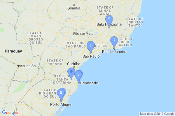 Top Providers - Location Map for Brazil