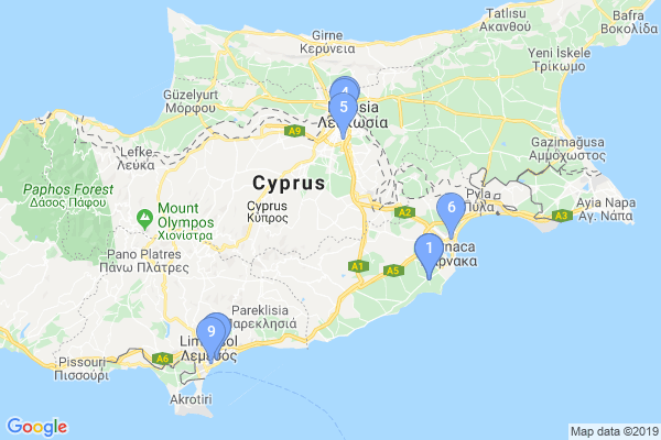 Top Providers - Location Map for Cyprus