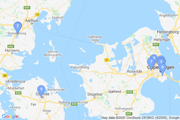 Top Providers - Location Map for Denmark