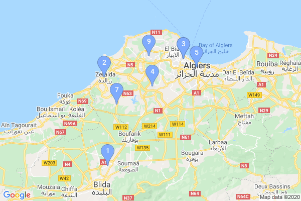 Top Providers - Location Map for Algeria