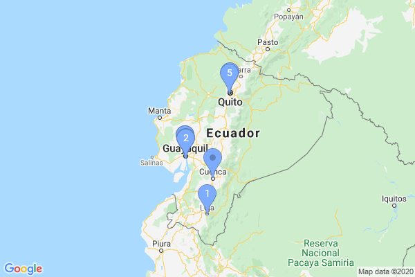 Top Providers - Location Map for Ecuador