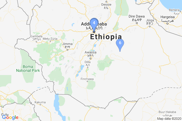 Top Providers - Location Map for Ethiopia
