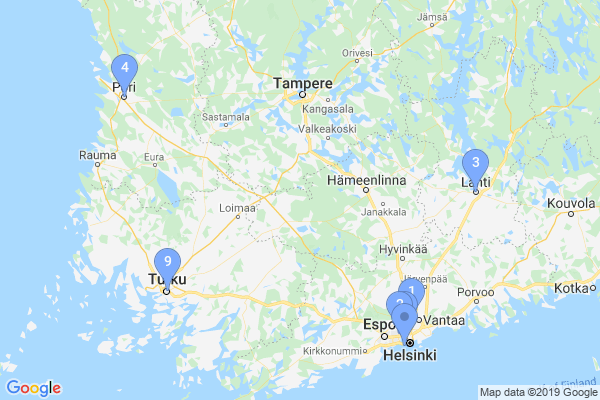 Top Providers - Location Map for Finland