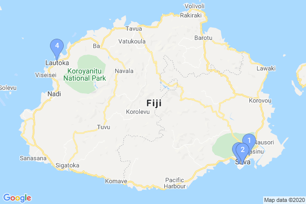 Top Providers - Location Map for Fiji