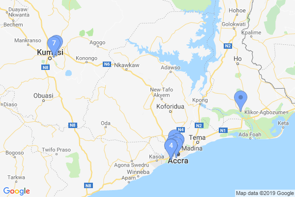 Top Providers - Location Map for Ghana