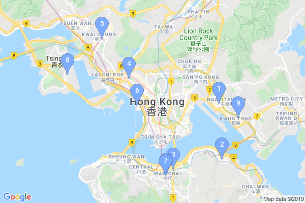 Top Providers - Location Map for Hong Kong