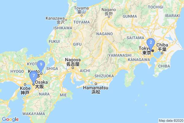 Top Providers - Location Map for Japan