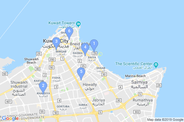 Top Providers - Location Map for Kuwait