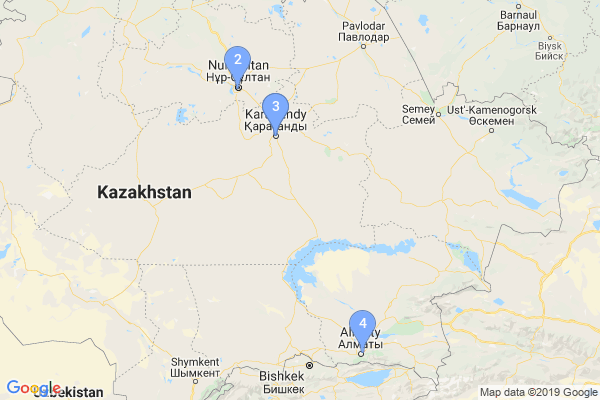 Top Providers - Location Map for Kazakhstan