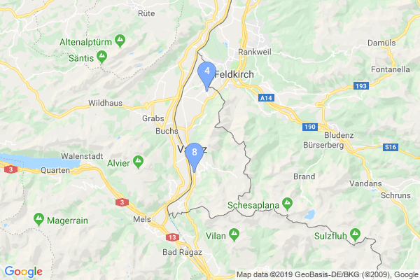 Top Providers - Location Map for Liechtenstein