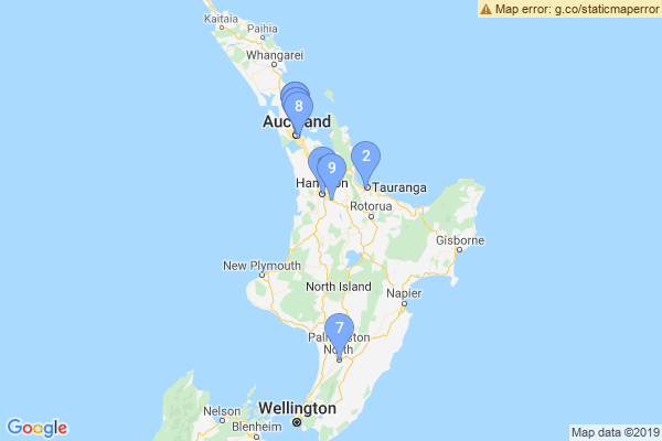 Top Providers - Location Map for New Zealand