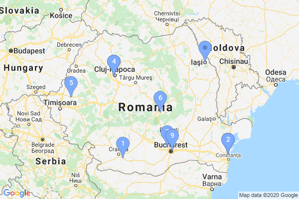Top Providers - Location Map for Romania