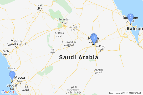 Top Providers - Location Map for Saudi Arabia