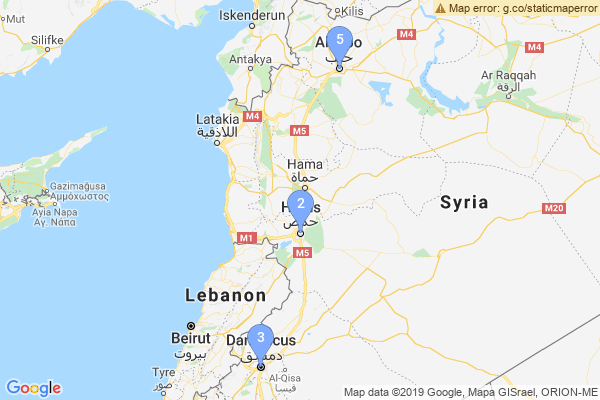 Top Providers - Location Map for Syria