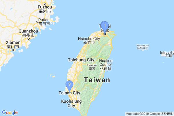 Top Providers - Location Map for Taiwan