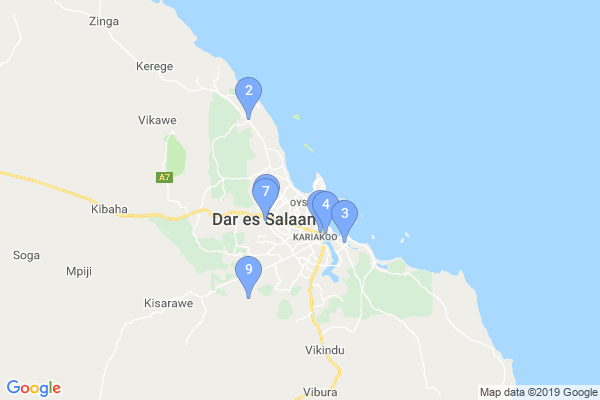 Top Providers - Location Map for Tanzania