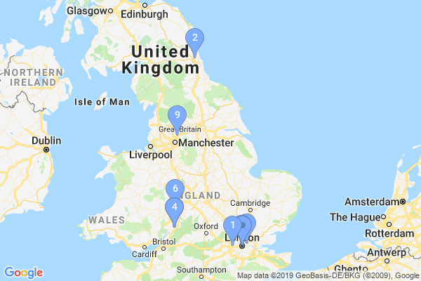Top Providers - Location Map for United Kingdom